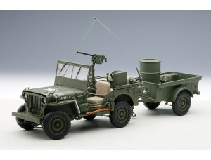 Jeep Willys in Army Green w Trailer